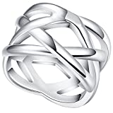 LWLH Jewelry Womens 925 Sterling Silver Plated Weave Double