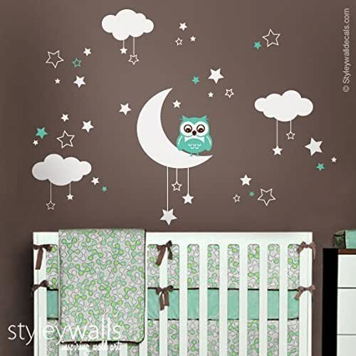 Owl wall decal owl wall sticker moon stars for Room decor 5d stickers
