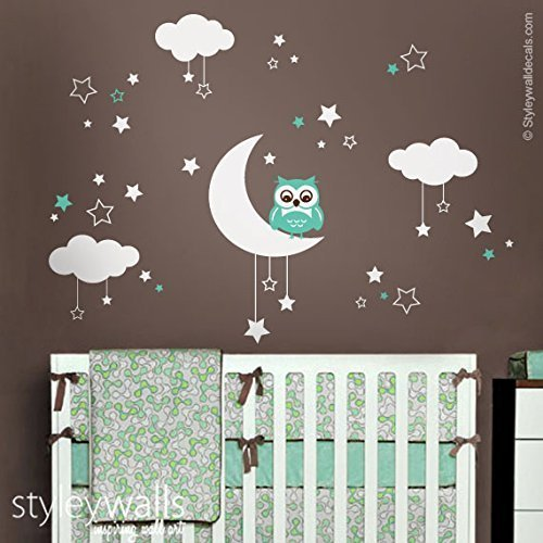 Amazoncom Owl Wall Decal Owl Wall Sticker Moon Stars Clouds - Nursery wall decals clouds