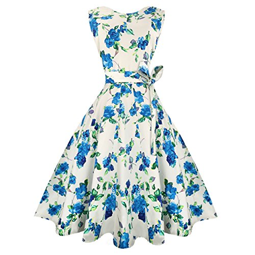 Urmine Women's 1950's Vintage Inspired Flare Dress for Women Dress (XXL, Floral-03)