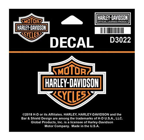 Harley-Davidson Bar & Shield Logo Orange Decal, SM 2.25 x 1.75 inches D3022 (Harley Davidson Small Stickers)