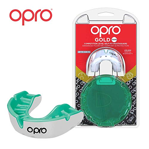 - OPRO Mouthguard Custom-Fit Gold Level Gum Shield for Ball, Combat and Stick Sports - 18 Month Dental Warranty (Adult and Kids Sizes) | White/Mint, Kids