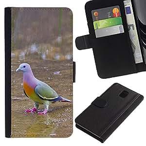 LASTONE PHONE CASE / Lujo Billetera de Cuero Caso del tirón Titular de la tarjeta Flip Carcasa Funda para Samsung Galaxy Note 3 III N9000 N9002 N9005 / tropical bird dove green ornithology
