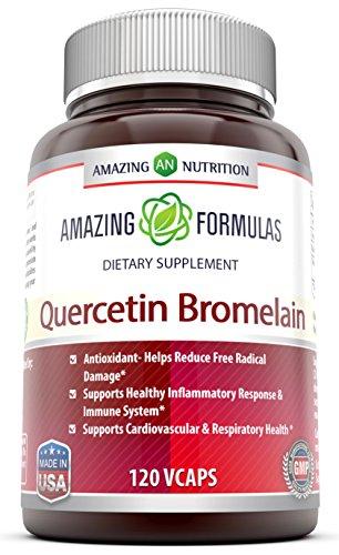 Удивительная с питанием, кверцетин 800 мг с бромелайн 165 мг: Мощный Команда обеспечивая удивительные преимущества для здоровья. Антиоксидант и противовоспалительными свойствами. Поддержка здоровья сердца, Здоровье суставов, производство энергии, здоровье