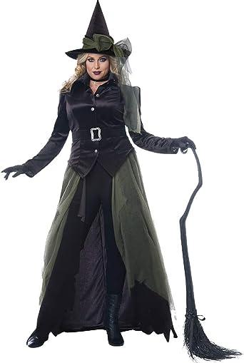 Amazon Com Disfraz De Bruja Gotica Para Mujer Talla Grande Color Negro Clothing