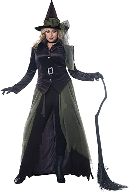 Amazon Com Womens Plus Size Gothic Witch Halloween Costume Black Clothing