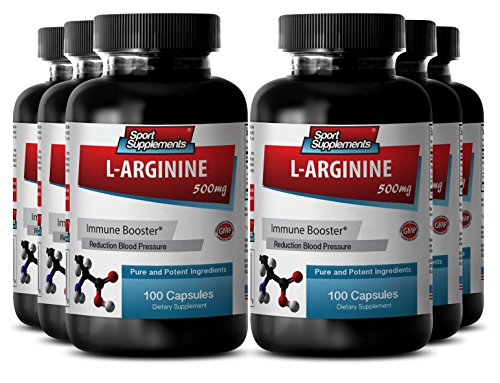 Vitamin B6 low dose - L-Arginine 500mg - Important for digestive function (6 Bottles - 600 Capsules) by Sport Supplements