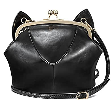 RubySports Cute Cat Ear Pu Leather Pouch Clutch Purse with strap kitty Mini cross body shoulder Tote bags wallet for Women Girls