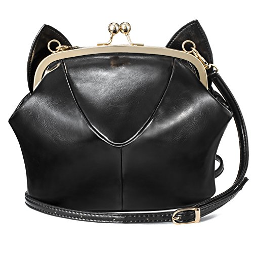 - RubySports Cute Cat Ear Pu Leather Pouch Clutch Purse with strap kitty Mini cross body shoulder Tote bags wallet for Women Girls