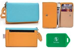 Ladies *Metro series* Mustard Yellow/Blue Universal Wristlet Wallet for BLU Samba TV Q170T GSM Dual-SIMáCellPhone