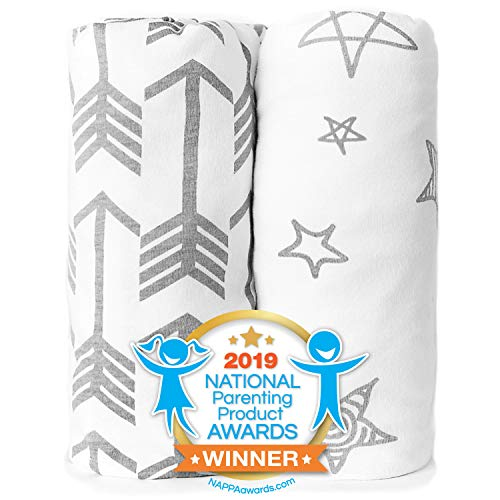 - Pack n Play Playard Sheet Set - Portable Mini Crib Mattress Pad Sheets - Convertible Mattress Cover - Stretchy, Fitted Jersey Cotton Will Fit Any Playard - Ultra Soft Baby Safe Fabric for Girl or Boy