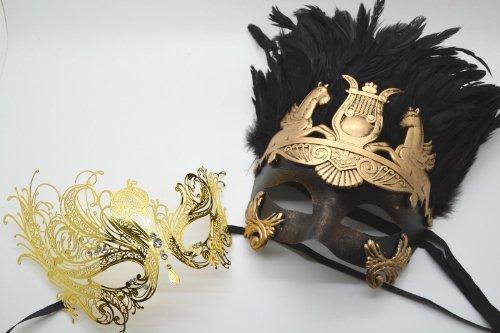 Roman Greek God Goddess Set - His & Hers Luxury Masquerade Masks Antique Gold