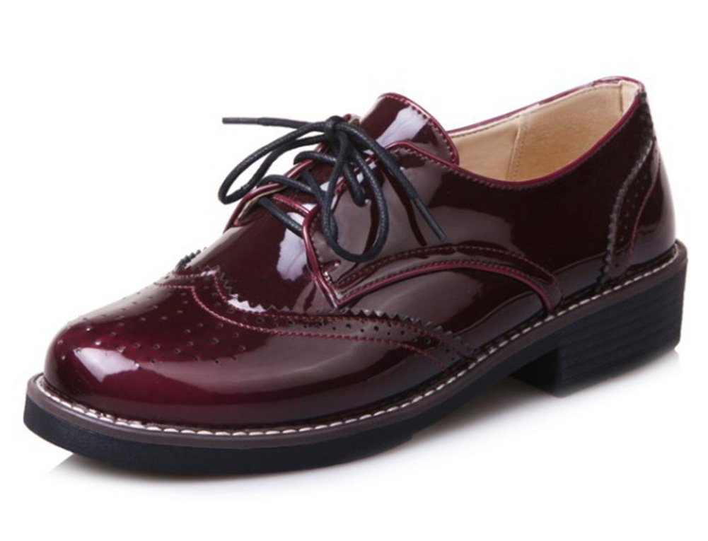Summerwhisper Women's Trendy Burnished Low Block Heels Lace up Brogues Oxfords Shoes (Wine Red, 4.5 B(M) US)