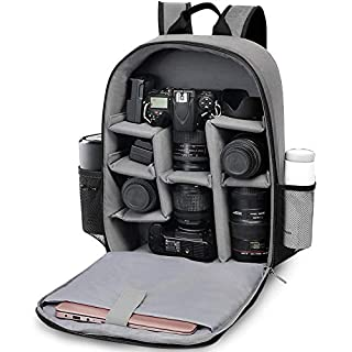 """CADeN DSLR Camera Backpack - Capacity can accommodate 2 Cameras 3 Lenses 1 Tripod 15.6"""" Laptop and Other Photography Accessories compart can be Adjusted Freely Compatible with Canon Nikon Sony (Gray)"""