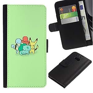 YiPhone /// Tirón de la caja Cartera de cuero con ranuras para tarjetas - Familia P0kemon - HTC One M8