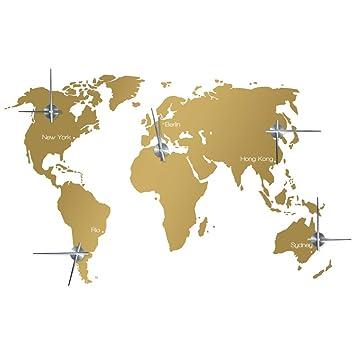 Amazon De Wandkings Zeitzonen Weltkarte Wanduhr Wandtattoo Farbe