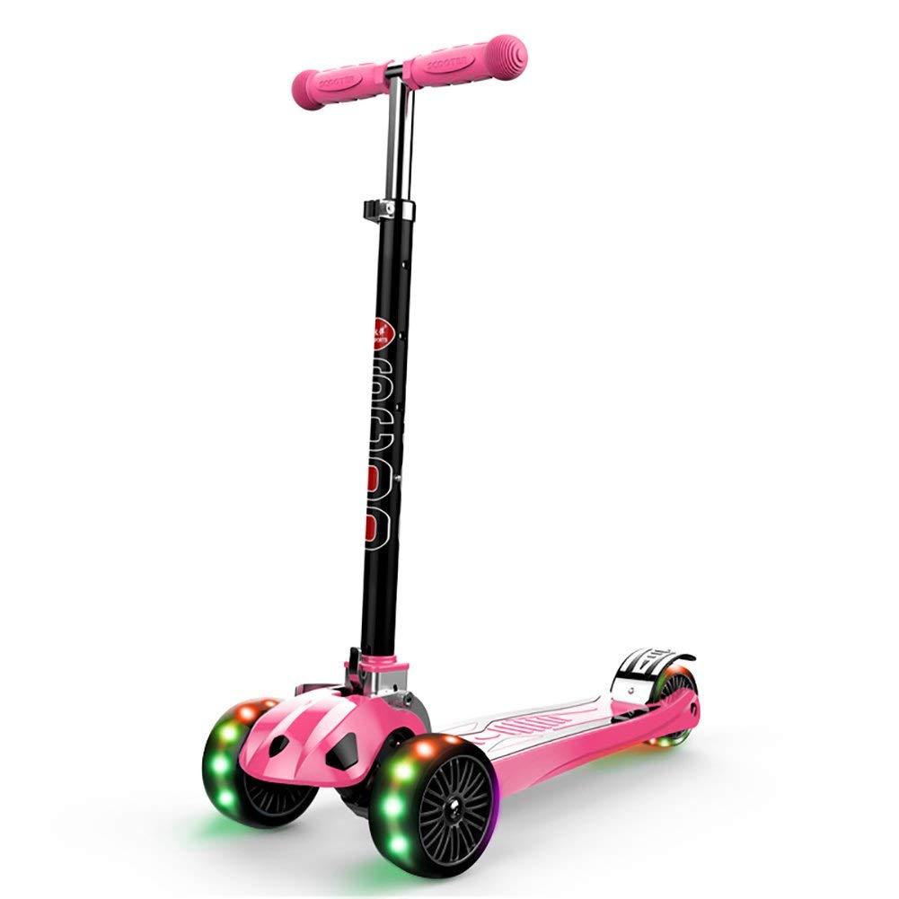 CMXIA Flash Regolabile del Ragazzo e della Ragazza del motorino dei Bambini Pieghevoli di Altezza Regolabile Quattro per Principianti 3-12 Regalo di Compleanno ( Colore   rosa )
