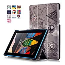 """Tablet Case 2016 Lenovo Tab3 7 Cover,Tablet 7 inch Tab3 7 Case Leather,Ultra Slim Premium PU Leather Folio Case for 7.0""""Lenovo Tab 3 7 Essential Tablet Case-Tower"""