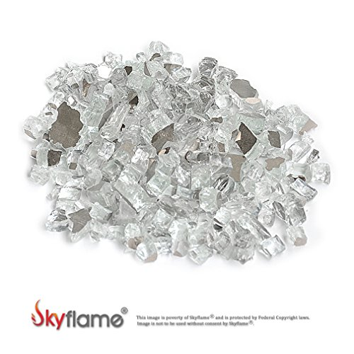 Skyflame 10-Pound Fire Glass for Fireplace Fire Pit and Landscaping, Platinum Reflective, - Glass Fireplace Rocks
