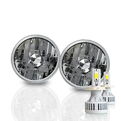 (Optix H5001 H5006 5.75 Inch Round Sealed Beam Headlight - Clear Glass Diamond Cut Housing - H4 LED Conversion Kit 6000K Cool White 8000LM 80W)