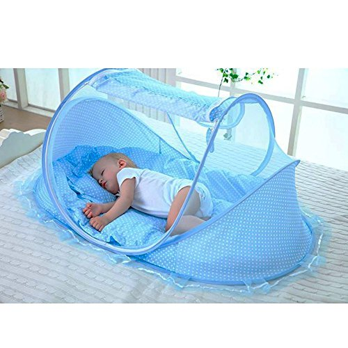 LOHOME Zippered Baby Mosquito Net - Free-installation Crib Mosquito Bed Portable Travel Baby Tent with Zipper Door Folding Baby Cots for 0-18 Month Baby Travel Bed (Baby Cot Mattress)