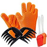 BBQ Mitts Set - Silicone BBQ Gloves/Meat Claws/Silicone Brush- For Indoor & Outdoor Cooking, Grilling, Baking, Barbecue