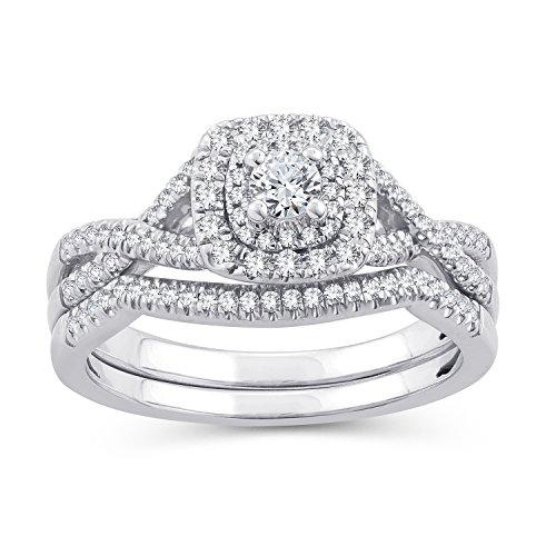 (0.50 Ct.Wt. Round Diamond Halo Cushion Twisted Split Shank Bridal Set 10K White Gold (IJ/I2-I3) (6))