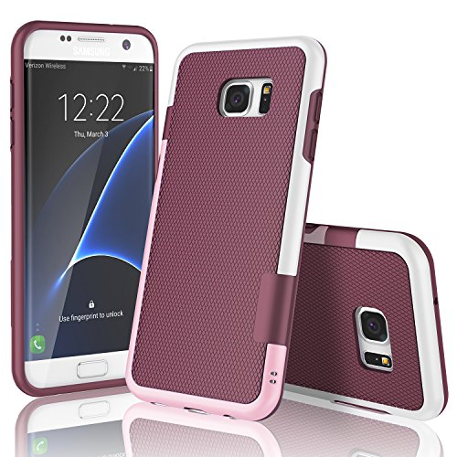 Galaxy S7 Edge Case, TILL(TM) Ultra Slim 3 Color Hybrid Impact Anti-Slip Shockproof Soft TPU Hard PC Bumper Extra Front Raised Lip Case Cover for Samsung Galaxy S7 Edge G935 5.5Inch [Wine]