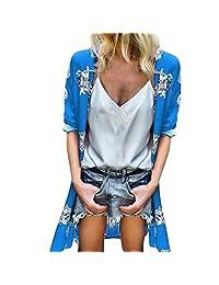 HTDBKDBK Kimono Cardigan for Women Loose Summer Floral Print Flare Sleeve Half Sleeved Cardigan Tops