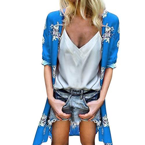 Sleeved Waistcoat - LUXISDE Womens Tops Womens Tops Short Sleeve Women Loose Summer Floral Print Flare Sleeve Half Sleeved Cardigan Tops(Blue,XXXL)