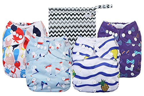 Cloth Diapers 4 Pack Adjustable Size Waterproof Washable Pocket Baby Cloth Diaper Cover and Inserts with Wet bag by Anmababy(Blue) from Anmababy