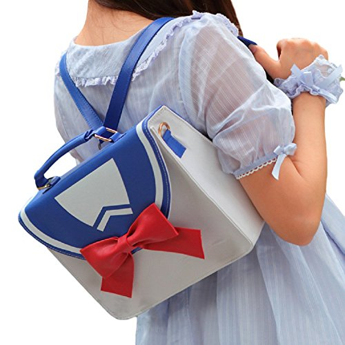GK-O 2 Ways Sailor Moon Preppy Style JK Message Shoulder Bag Backpack (White and blue)