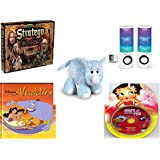 Children's Fun & Educational Gift Bundle - Ages 6-12 [5 Piece] - The Lord of The Rings Stratego Game - Merkury HUE Universal Dancing-LED Speakers - Webkinz Rhino Plush - Disney's Aladdin (Disney Cl