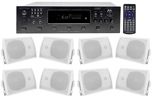 Technical Pro 6000w (6) Zone, Home Theater Bluetooth Receiver+(8) 5.25'' Speakers by Technical Pro
