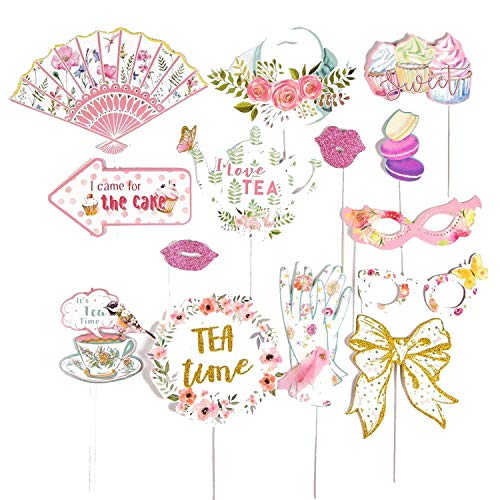 Tea Party Paper Fans Decorations Floral Printable Tea Pot Tea Cup Mother's Day Birthday Party Decor,Photo Props-14Pcs]()