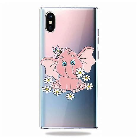 KSHOP Funda Compatible con Apple iPhone X/XS,Carcasa Transparent TPU Silicona Case Cover+Protector de Pantalla - Elefante