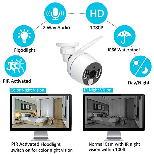 YESKAMO Wireless Security Camera System Outdoor 1080p [Floodlight & Audio] 2 x Floodlight Home Cameras 2 x Standard IP Camera 8 Channel NVR Support Two Way Talk,Color Night Vision,PIR Motion Detection by YESKAMO (Image #3)