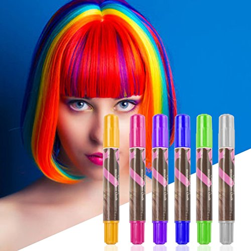 Hair Chalk Pens, Amariver 6 Pack Colorful Metallic Glitter Temporary Hair Chalk Pens Edge Chalkers for Girls, Christmas, Cosplay, Party, Works on All Hair Colors by Amariver (Image #3)