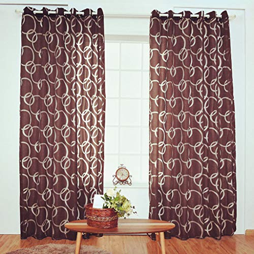 Beyonds Sheer Curtains Panels for Livingroom - ♥ Breathable Window Kitchen Shower Curtain, Brown Circle Bubble Ventilation Insulation Voile Treatment Patio Door Drapes