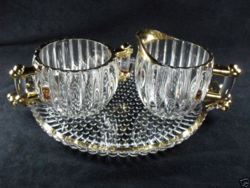 Vintage Jeannette Pressed Glass National Pattern Sugar Creamer and Tray Set Clear with Gold Trim (Pattern Creamer Glass)