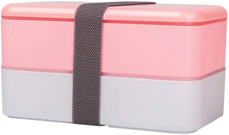 Caja de Almuerzo Creative Bento Box portátil de Doble Capa Contenedor de Comida Cajas de Almacenamiento con Cubiertos y Cinta Oficina for Adultos MDYHYQ (Color : Rosado, Size : Double-Layer): Amazon.es: Hogar