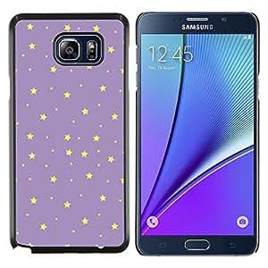 KLONGSHOP // Cubierta de piel con cierre a presión Shell trasero duro de goma Protección Caso - las estrellas del cielo nocturno púrpura amarilla del papel pintado - Samsung Galaxy Note 5 5th N9200 //