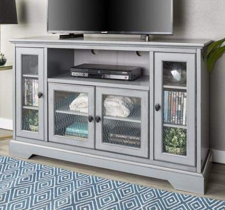 Tv Stand For 55 Inch Tv - Antique Grey Wood Highboy Design with Tempered Glass Doors- Display Your TV in Style