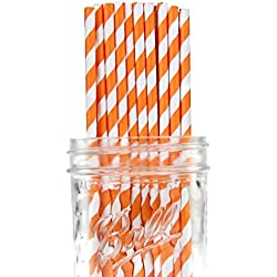 Dress My Cupcake Orange Striped Paper Straws, 25-Pack