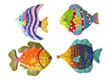4 Tropical Wood Fish Plaques