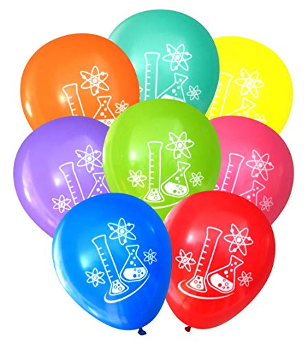 Science Party Balloons - Flasks and Atoms (16 pcs, Two-Sided) (Assorted) by Nerdy Words