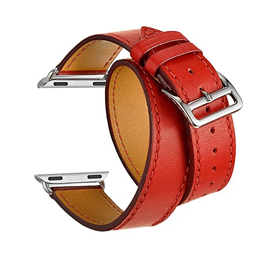 Kartice for Apple Watch Band,Luxury Genuine Leather Watch Band Strap Bracelet Replacement Wrist Band With Adapter Clasp for iWahtch Apple Watch & Sport & Edition--Longer size orange red 38mm