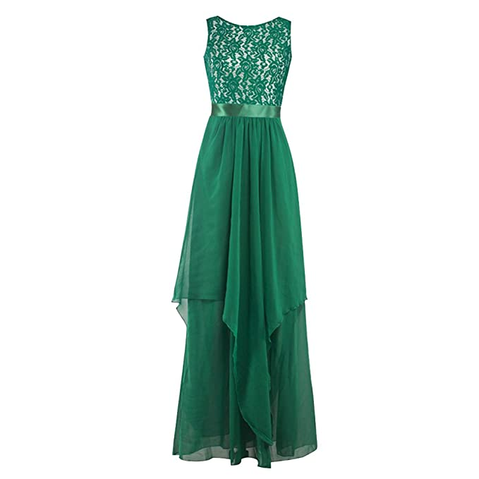 Wodery Donne formale maniche maxi abito da damigella abito di sfera Dress  Verde XL b864ba228d5