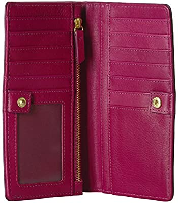 Fossil Caroline Rfid Slim Bifold Wallet Raspberry Wine Wallet