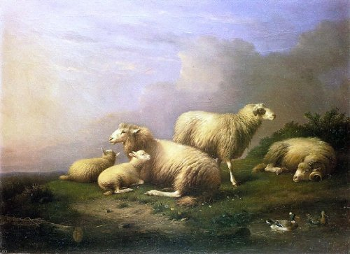 Francois Van Severdonck A Flock of Sheep Resting by a Pond - 18.05